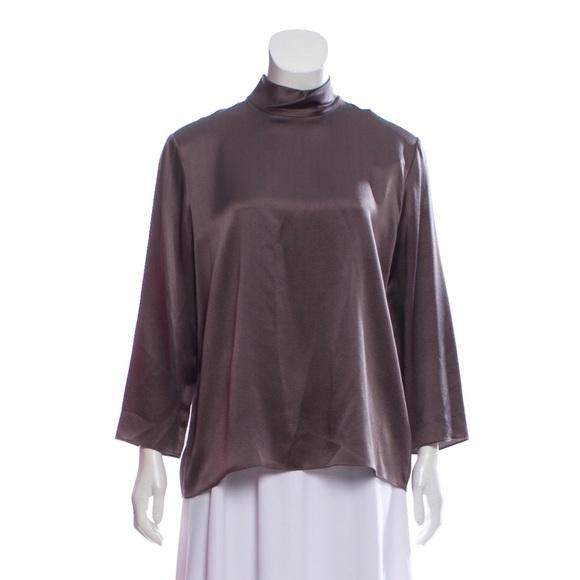 eacc230994a240 NWT Vince Gray mock neck blouse Sz L 100% silk
